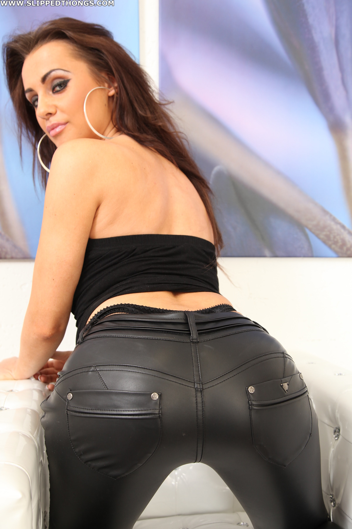 thong leather pants